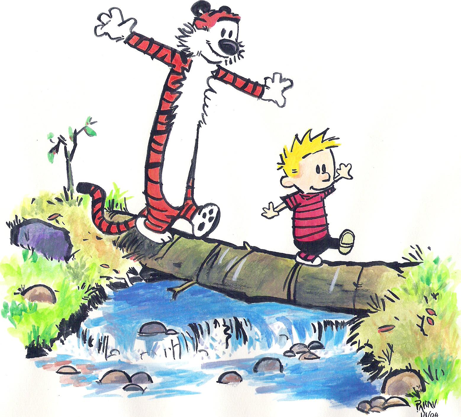 Calvin & Hobbes (Watercolor, 1 Jan 2004)